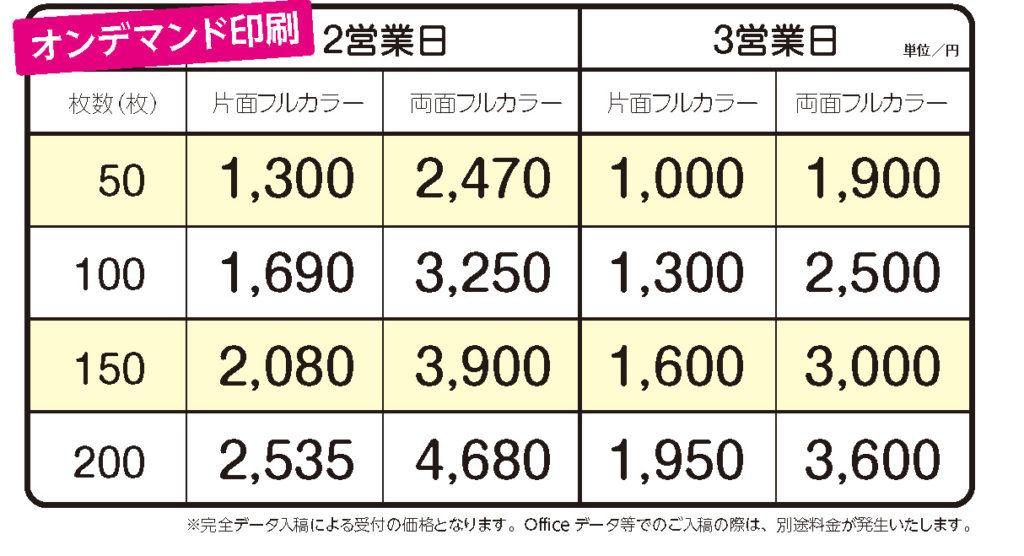 チラシリーフレットオンデマンド印刷価格表